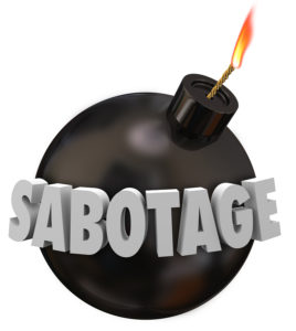Sabotage word in 3d letters on a black round bomb to illustrate